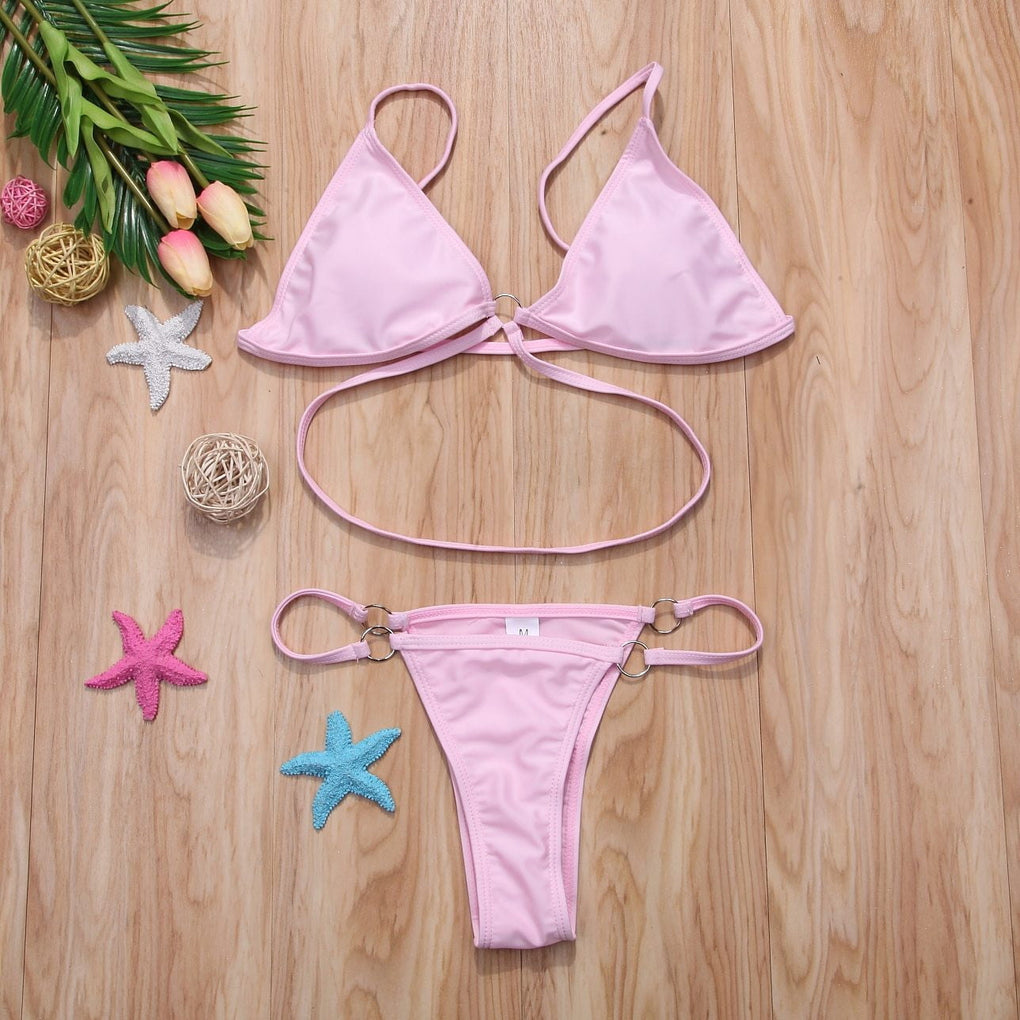 Low waist lace up bikini set - klozetstyle.com