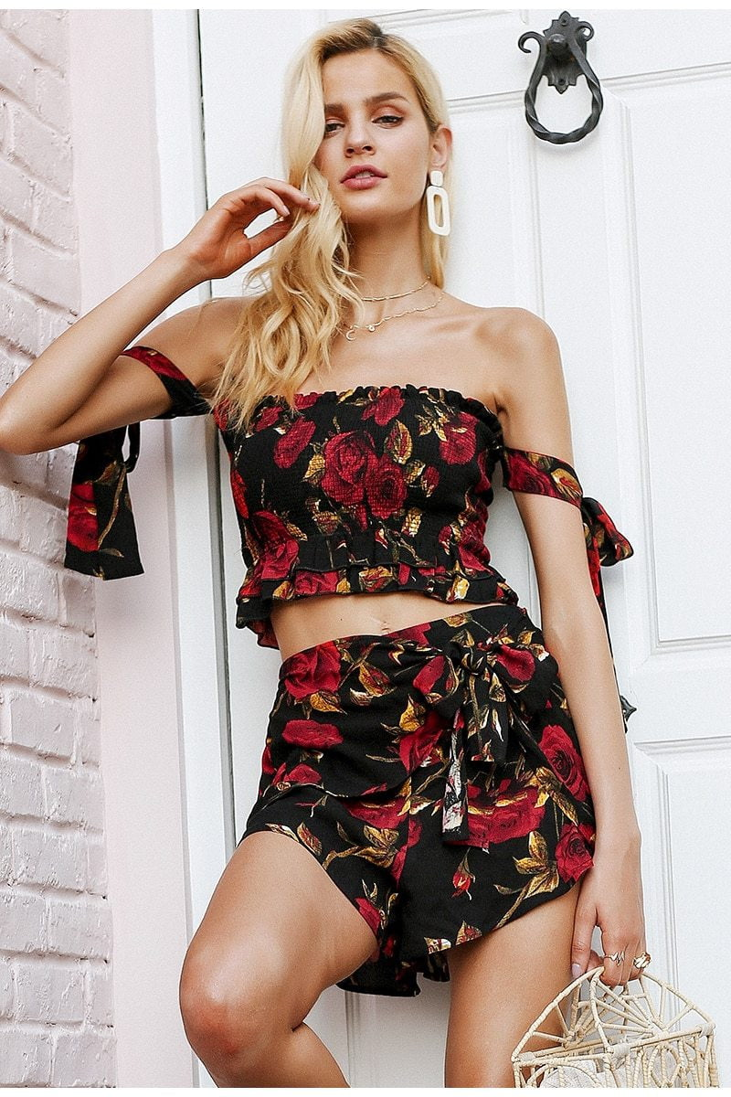Ruched ruffle strapless two-piece romper - klozetstyle.com