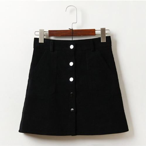 Corduroy High Waist Pocket Mini Skirt - klozetstyle.com