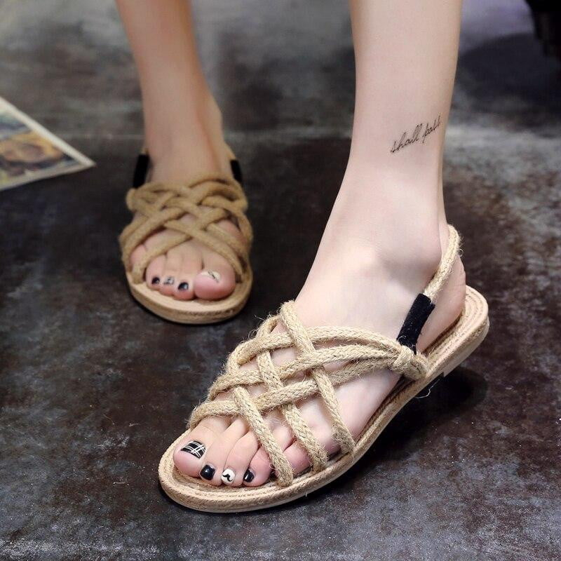 Cross straps hemp rope Leisure Flat Sandals - klozetstyle.com