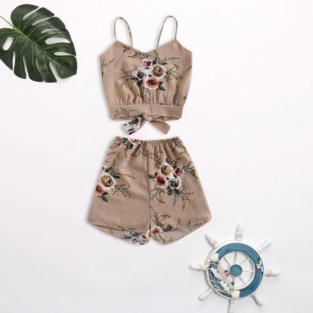 Tank Top+Elastic Shorts Set - klozetstyle.com