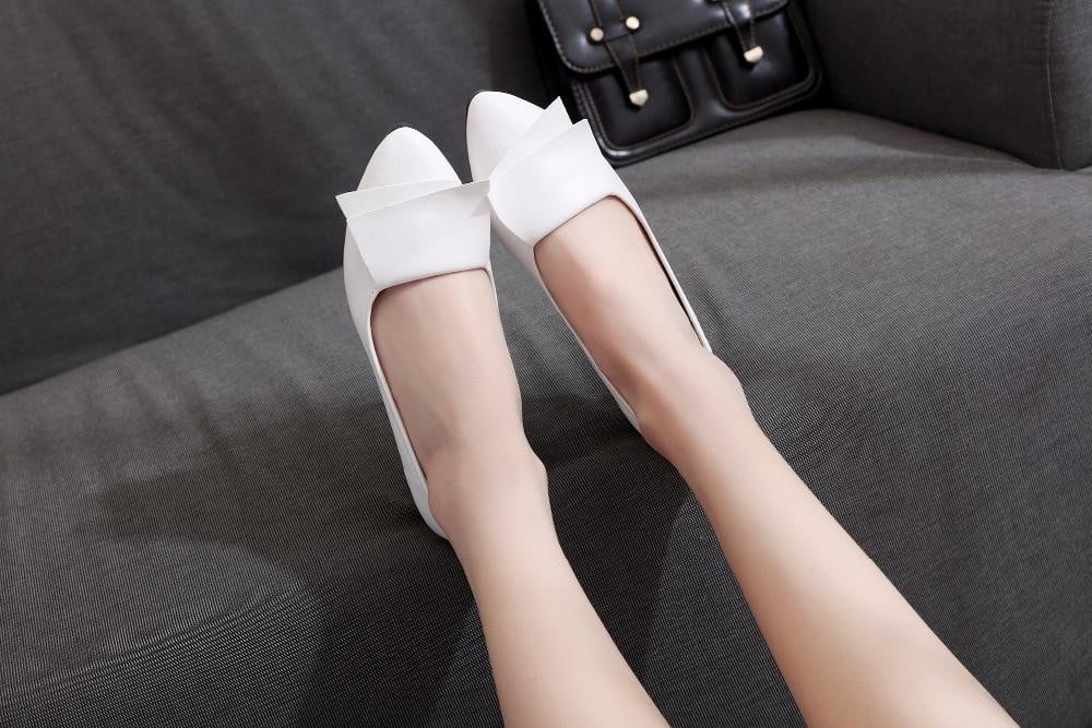 Leather pointed toe loafers cowhide flat shoes - klozetstyle.com