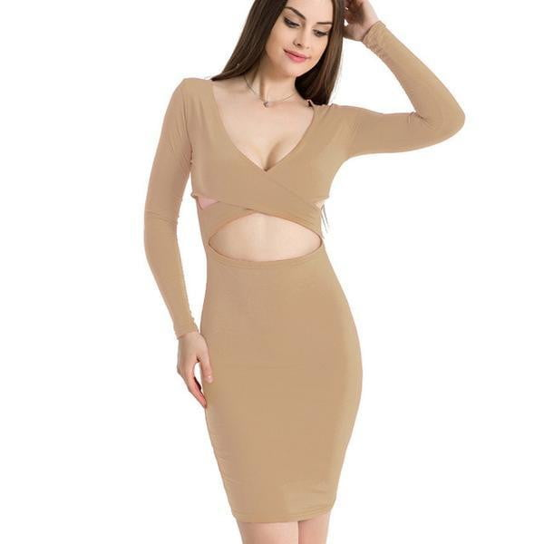 Long Sleeve Elastic Cotton Midi Bodycon Dress - klozetstyle.com