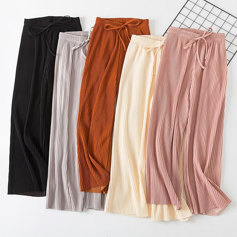 Pleated wide leg high waist casual pants - klozetstyle.com