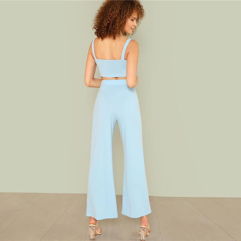 Blue Thick Strap Crop Top and Wide Leg Pants Two Piece Set - klozetstyle.com