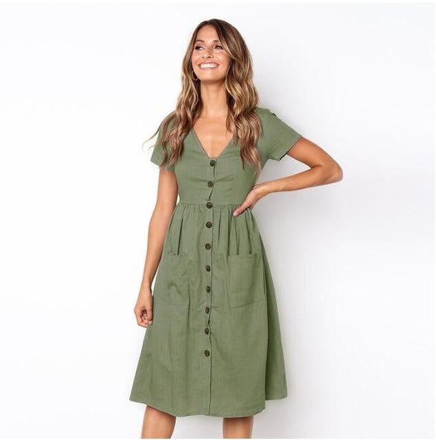 Button Down Midi Dress with Pockets - klozetstyle.com