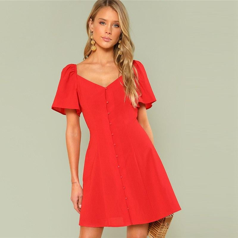 Red Button Up Flared Dress - klozetstyle.com