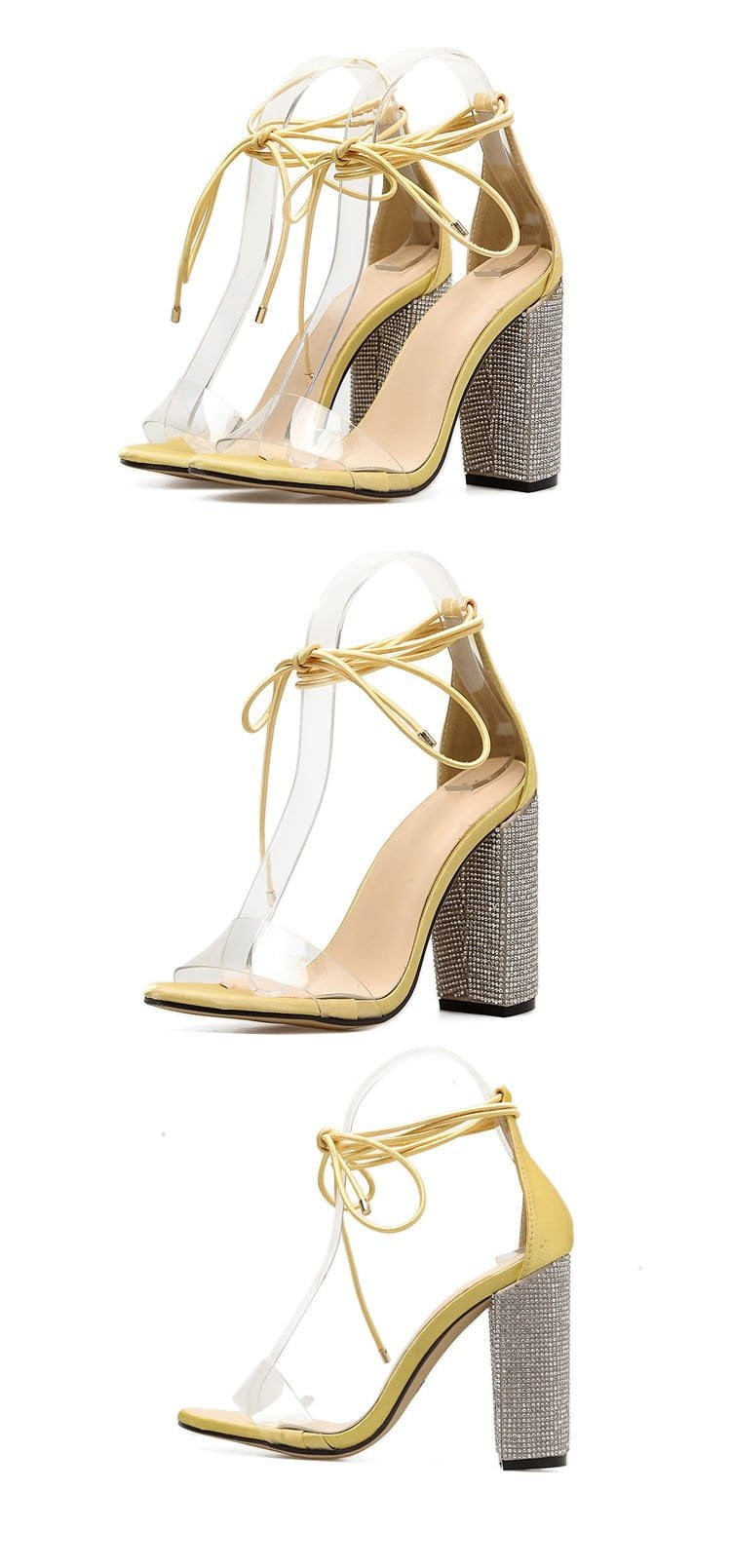 Square Heels Crystal Lace Up Shoes - klozetstyle.com