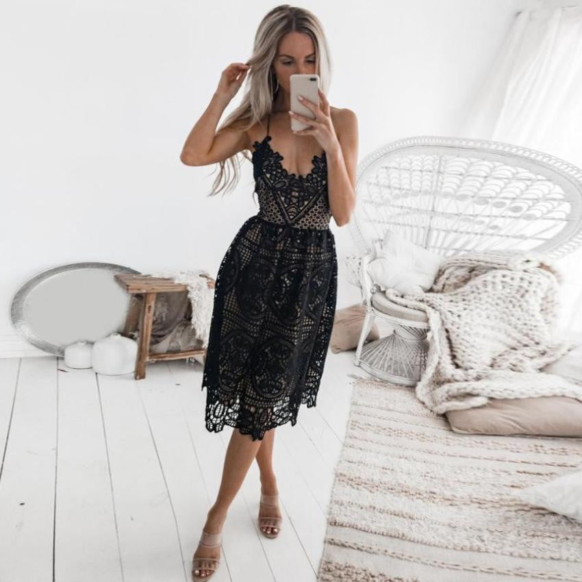 Sleeveless Halter Backless Lace Midi Dress - klozetstyle.com