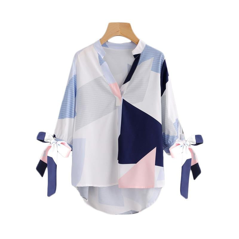Tie Cuff Abstract Geometric Print Blouse - klozetstyle.com