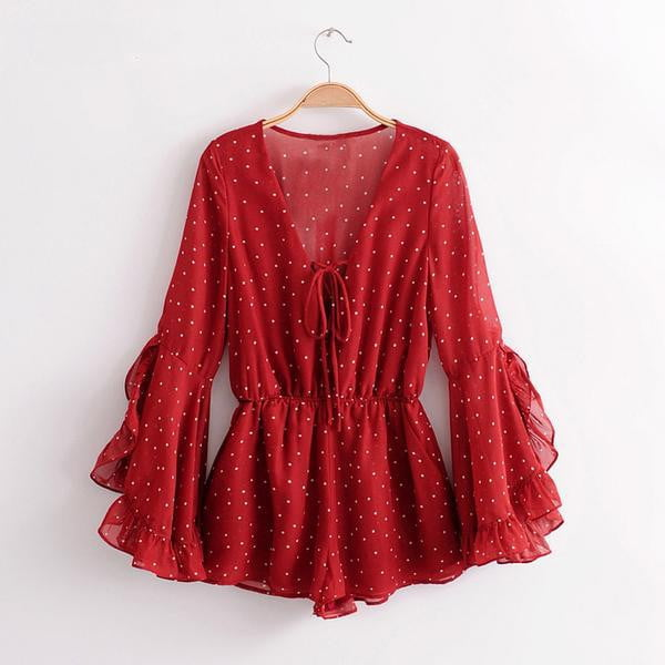 Red Bohemian Dot Printed Long Flare Sleeve Romper - klozetstyle.com