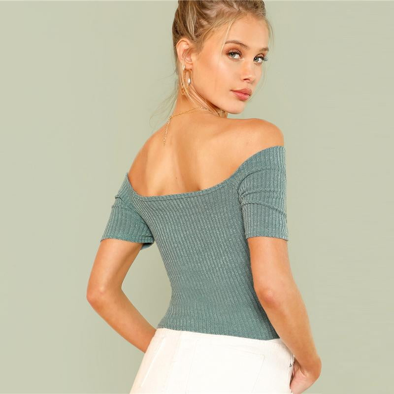 Off Shoulder Plain Slim Top - klozetstyle.com