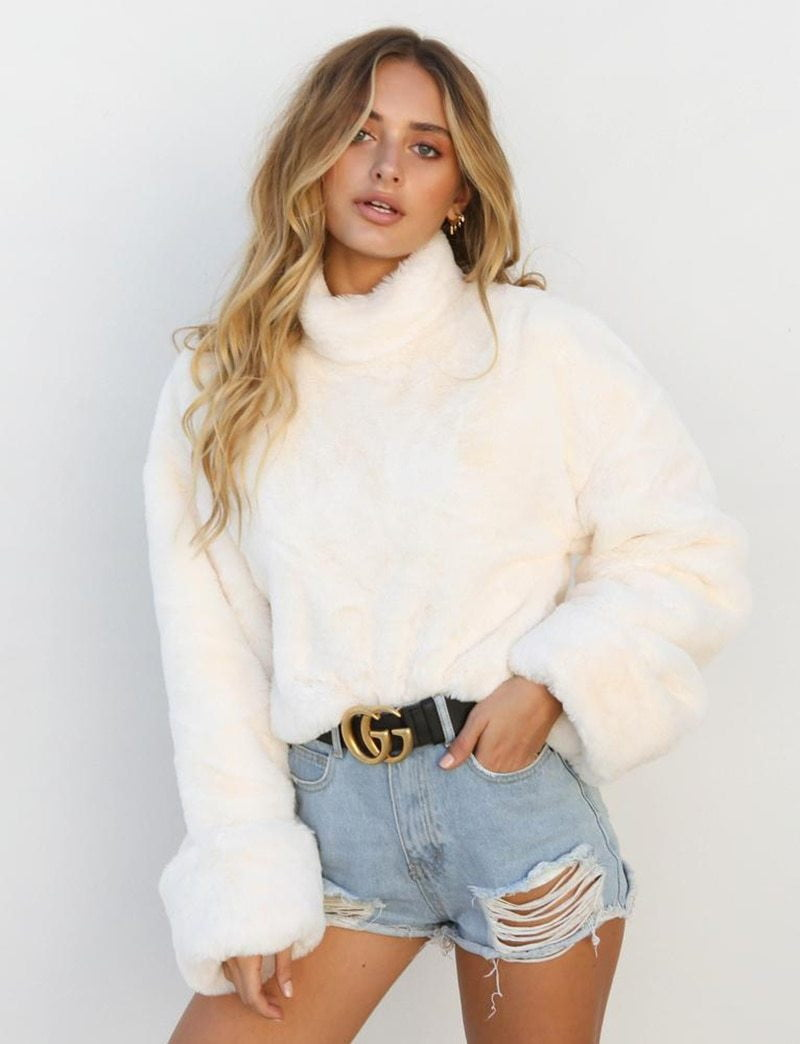 Thick Faux Fur Wool Coats - klozetstyle.com