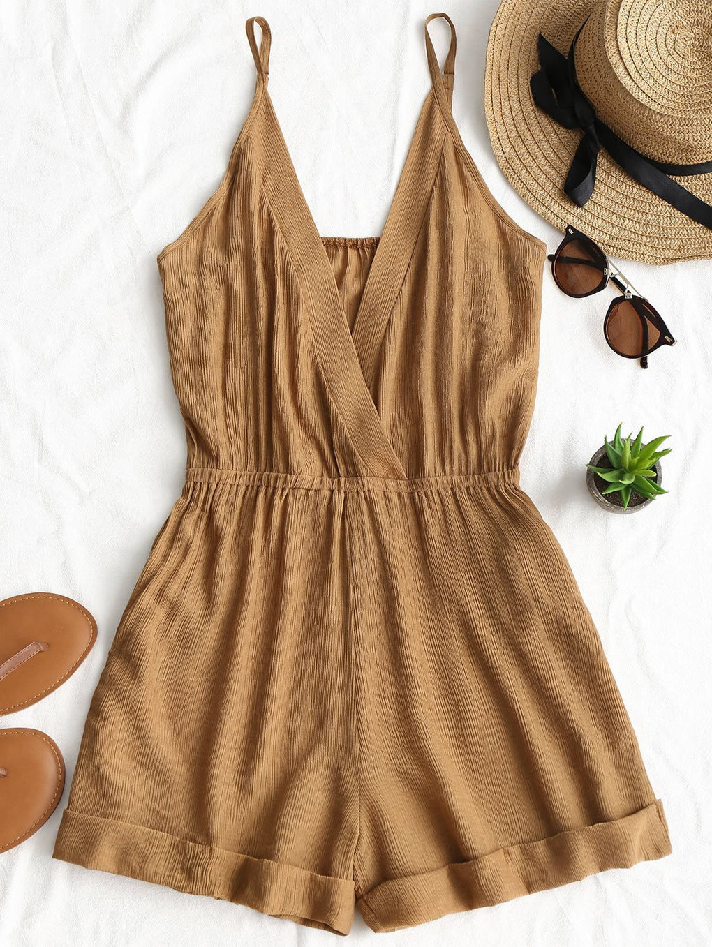 Cross Front Rolled Up Romper - klozetstyle.com