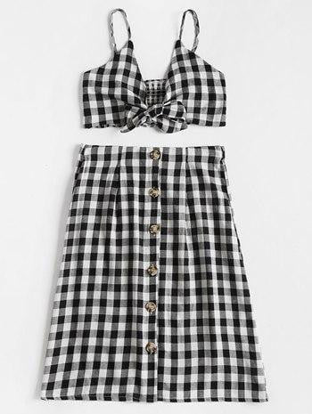 Plaid Crop Top and Skirt Set - klozetstyle.com