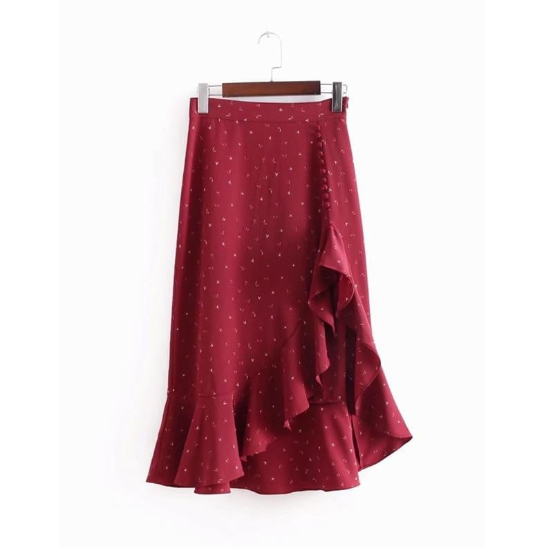 Print button high waist ruffle skirt - klozetstyle.com