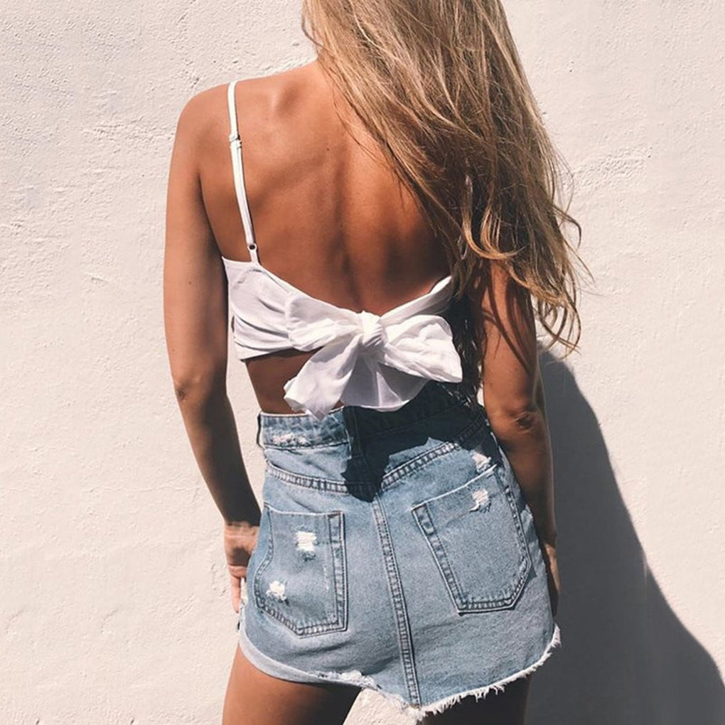 Summer Lace Up Bow Backless Crop Top - klozetstyle.com