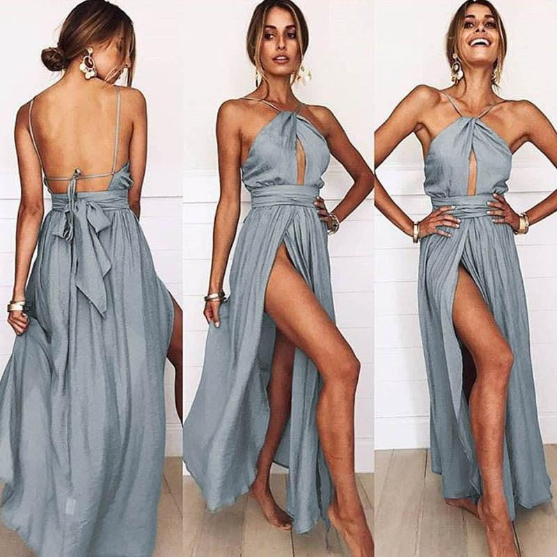 Halter Backless Hollow Out Bow Split Dress - klozetstyle.com