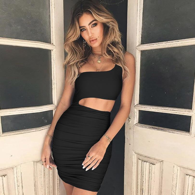 Bodycon One Shoulder Party Dress - klozetstyle.com