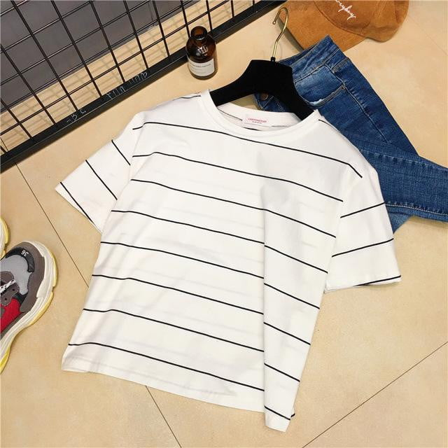 Cute candy color casual striped sweet loose short-sleeved summer T-shirt - klozetstyle.com