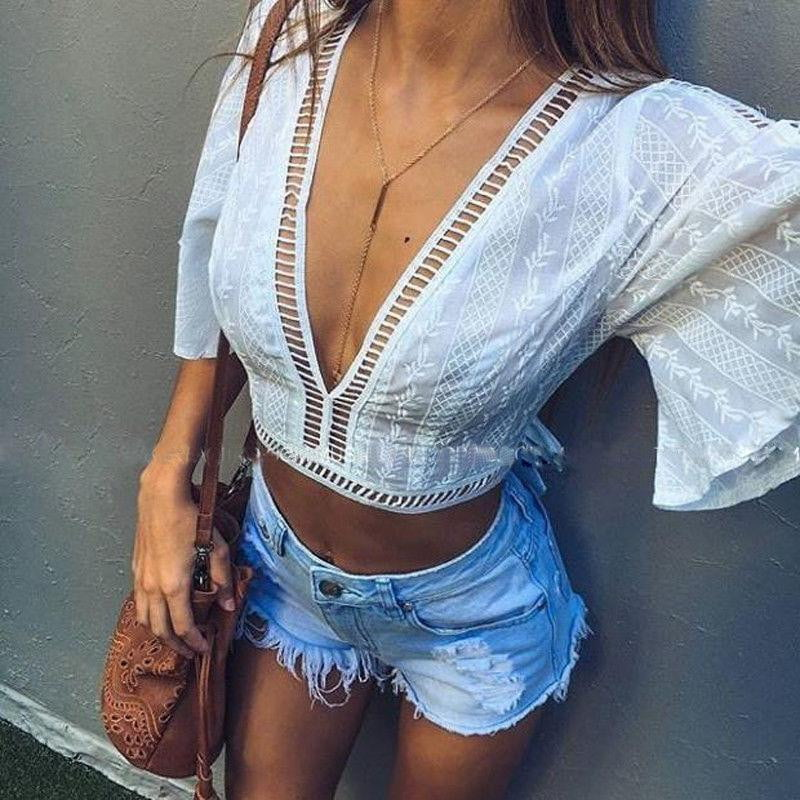 Boho Mesh Lace up Loose Casual short sleeve Crop Midriff Blouse - klozetstyle.com