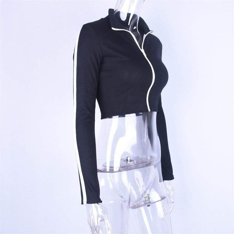 Long Sleeve Patchwork Zipper Top - klozetstyle.com