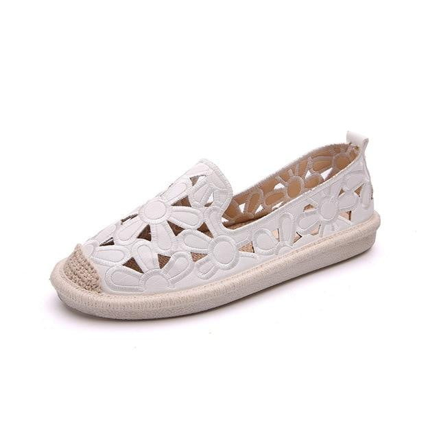 Embroidery Fisherman Spring Cut Out Hollow Out Casual Flat Shoes - klozetstyle.com