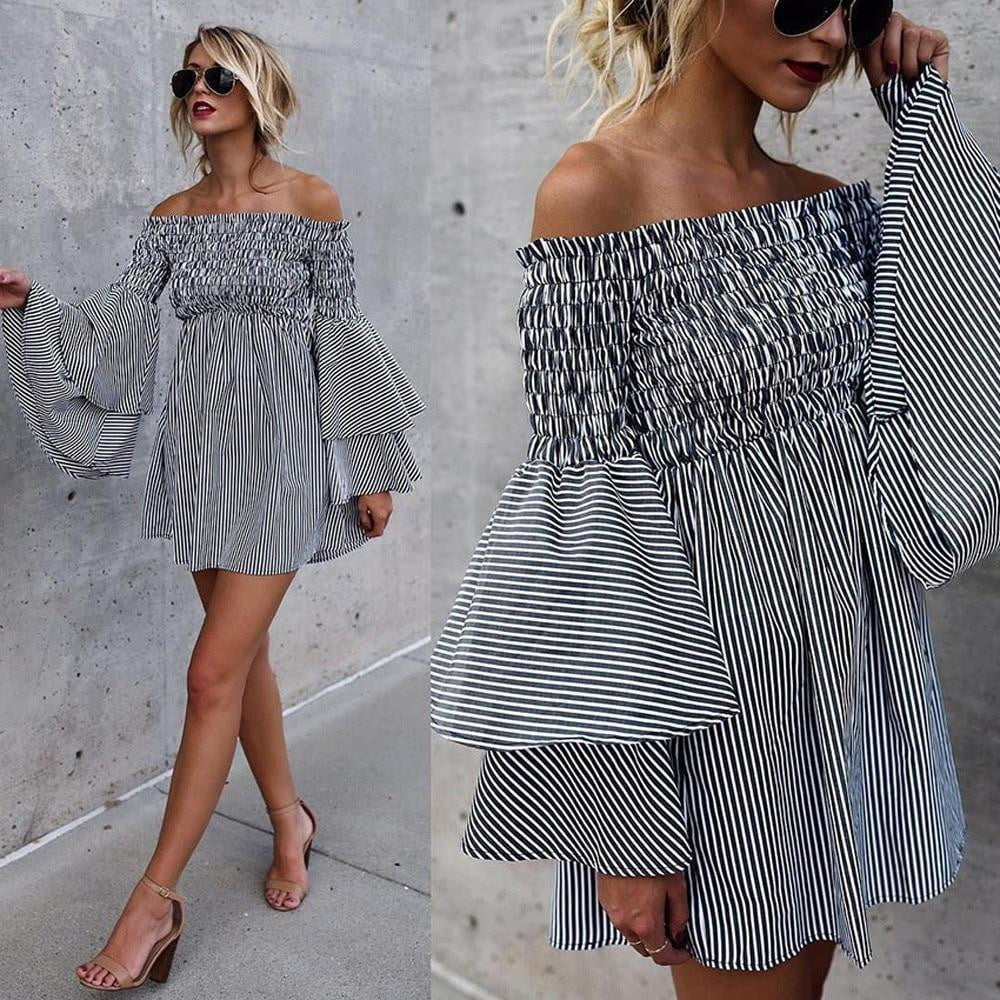 Off Shoulder Stripe Party Ladies Casual Long Sleeve Boho Mini Dress - klozetstyle.com