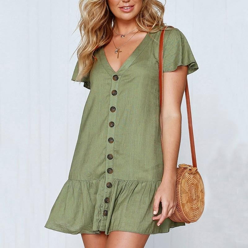Ruffle Button Solid Casual Mini Dress - klozetstyle.com