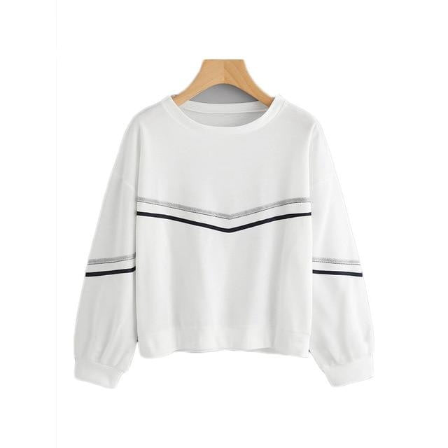White Tape Detail Drop Shoulder Casual Long Sleeve Sweatshirt - klozetstyle.com