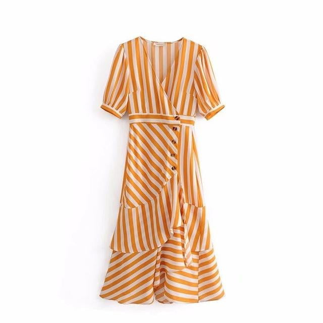 Yellow V-Neck Striped Dress - klozetstyle.com