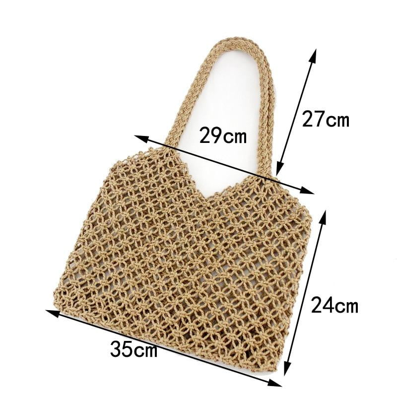 New hand-woven hollow work straw grid beach bag - klozetstyle.com