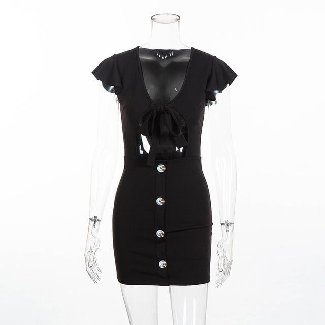 Ruffles tie up hollow out butterfly sleeve bodycon dress - klozetstyle.com