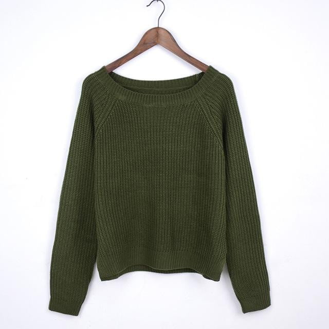 Pullover long sleeve knitted sweater - klozetstyle.com