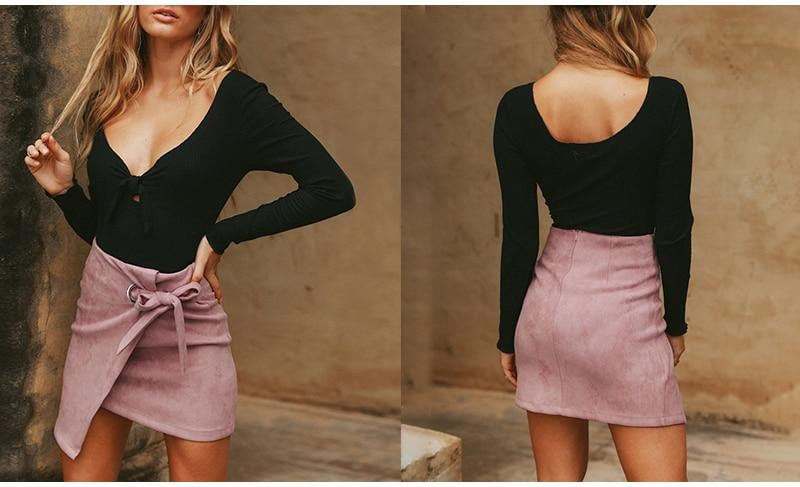 Asymmetrical Sash Knotted Suede Skirt | Black & Pink - klozetstyle.com