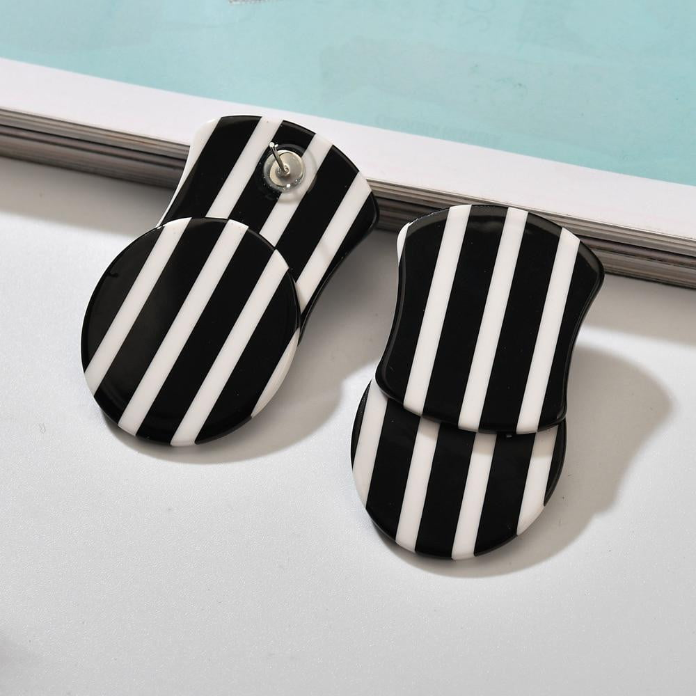 Black And White Stripes Large Acrylic Resin Dangle Drop Earrings