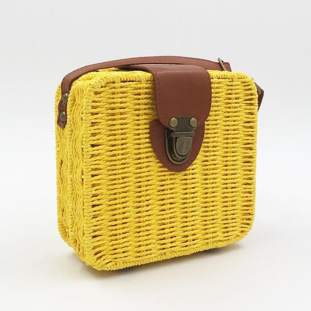 Hand-woven Candy Color Straw Bag - klozetstyle.com