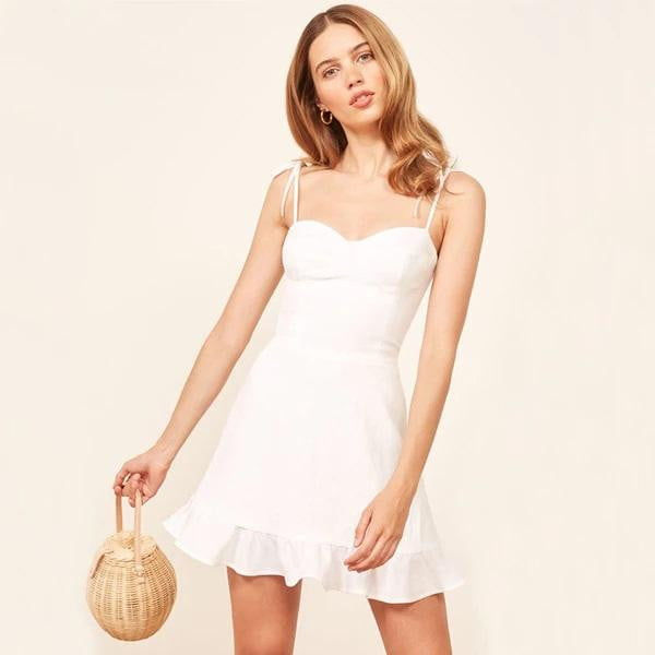 Sweetheart Neck Cami Strap Ties Mini Dress with Ruffles Hem - klozetstyle.com