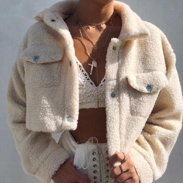 Teddy Cropped Front Pockets Thick Warm Coat Jackets - klozetstyle.com