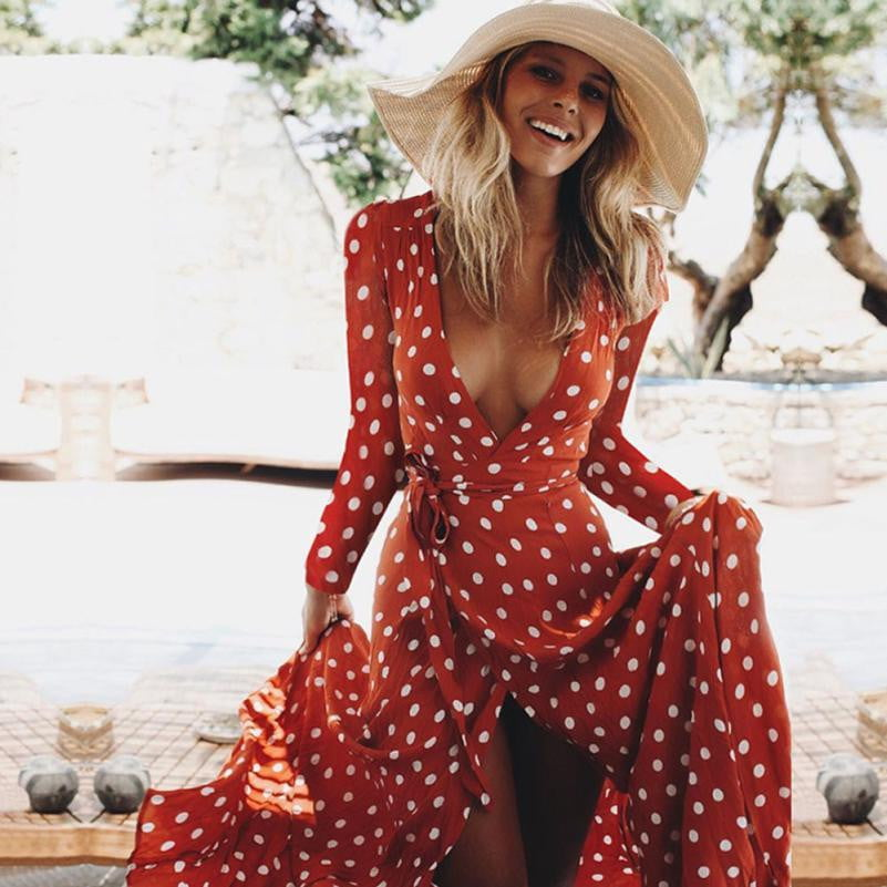 Red Polka Dot Sundress - klozetstyle.com