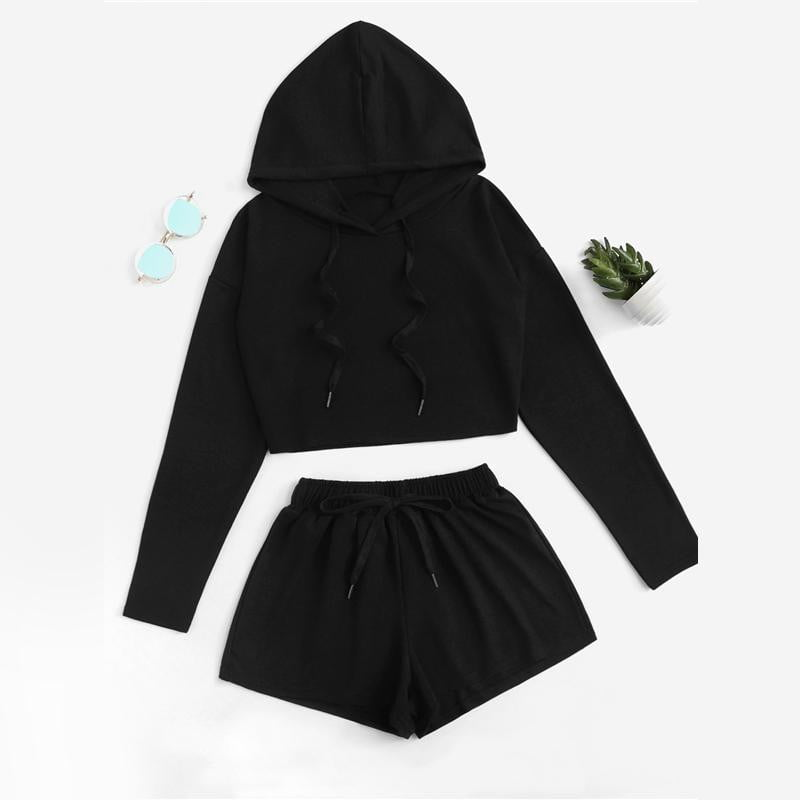 Black Drop Shoulder Drawstring Top With Shorts - klozetstyle.com