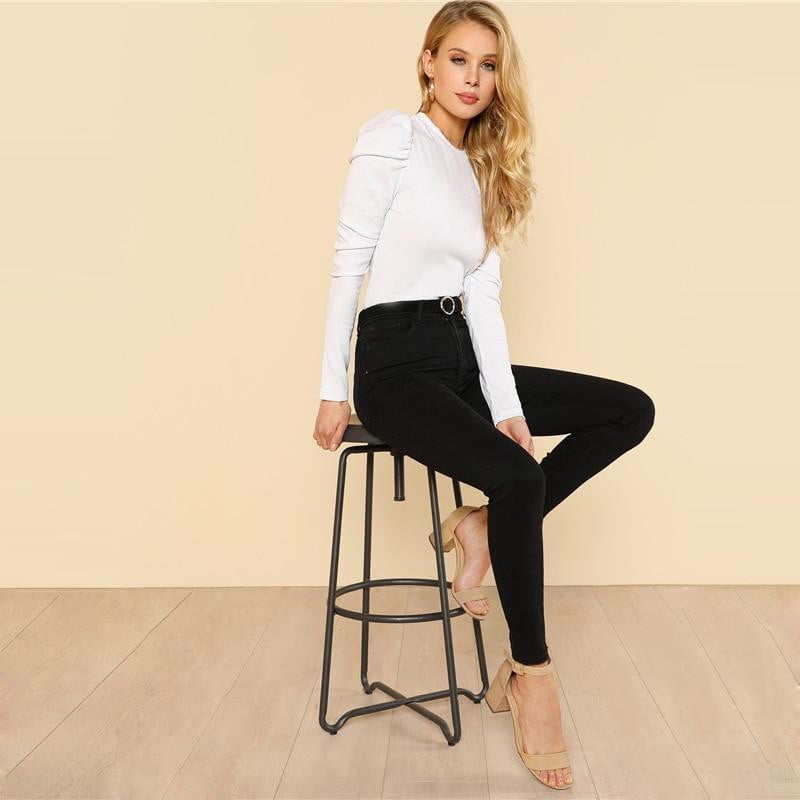 Puff Sleeve Slim Fit Rib Knit Long Sleeve Tops - klozetstyle.com