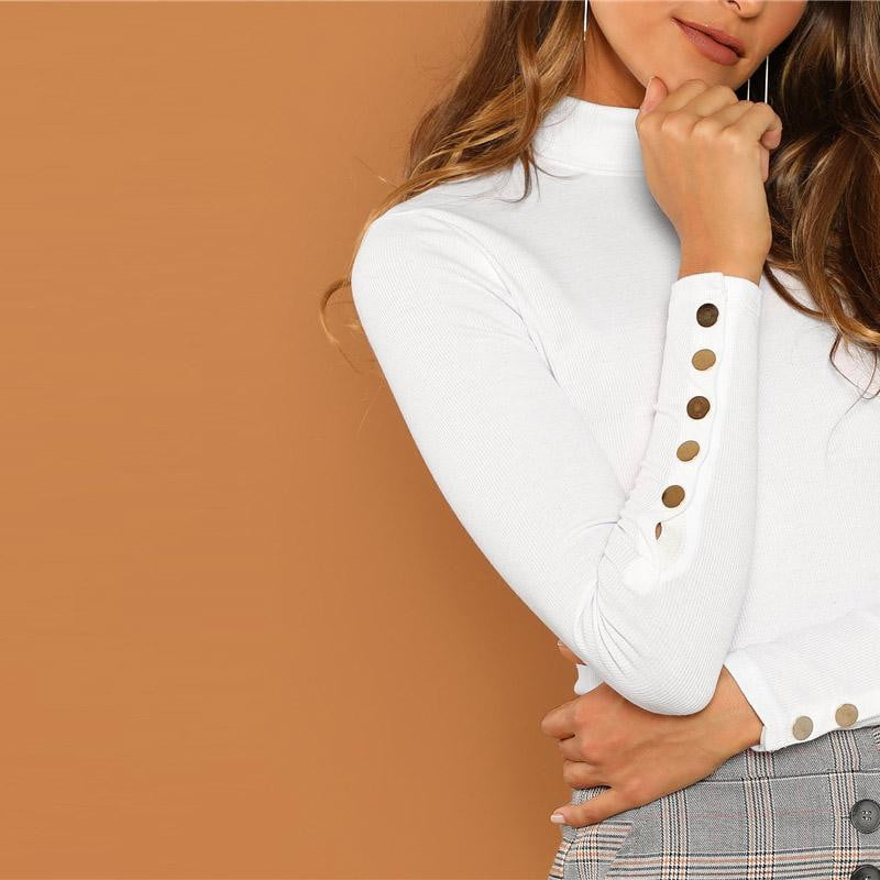 White Buttoned Cuff Slim Fit Stretchy High Neck Long Sleeve Tops - klozetstyle.com