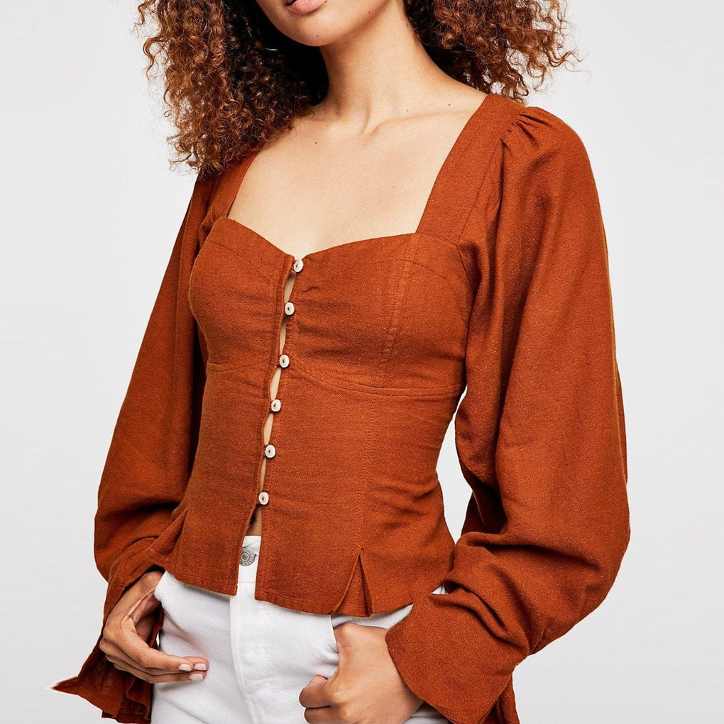 Square Collar Open Back Tie Long Lantern Sleeve Autumn Penelope Blouse - klozetstyle.com