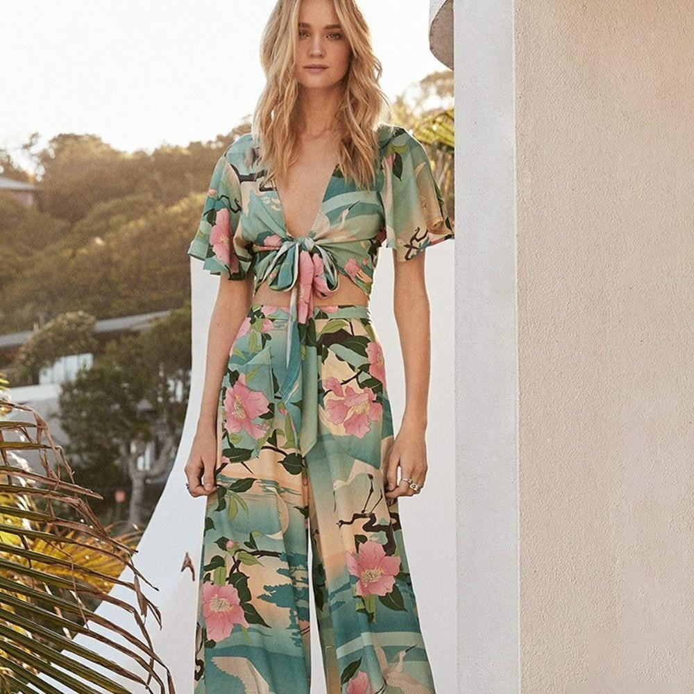 Nightingale Lotus Floral Print Crop Top , Pant Suit and Cardigan - klozetstyle.com
