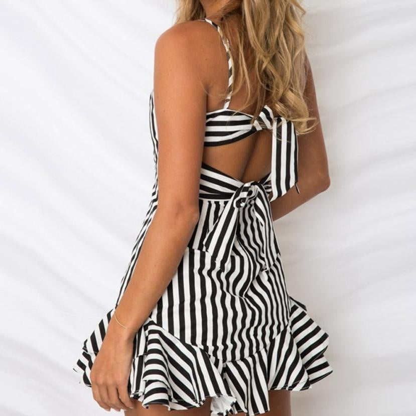 High Quality Backless Ruffles Striped Dress - klozetstyle.com