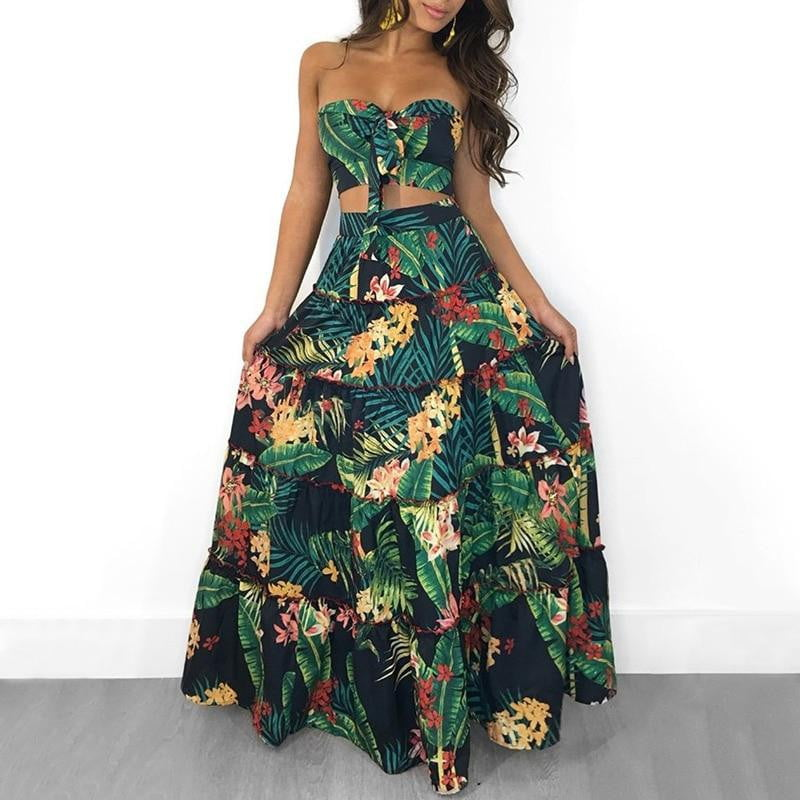 Two Piece Set Crop Top and Long Skirt Floral Printed Bandeau - klozetstyle.com