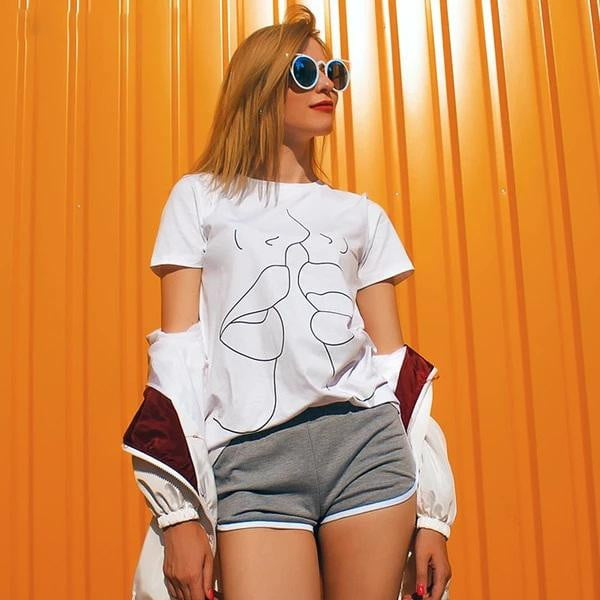 Tumblr Lips Cotton Short Sleeve T shirt - klozetstyle.com