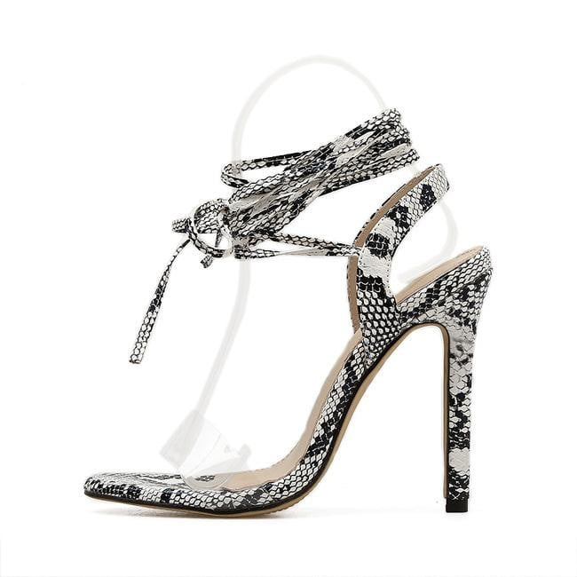 Snakeskin Gladiator Lace up Cross-tie High Heel Transparent PVC Sandals - klozetstyle.com