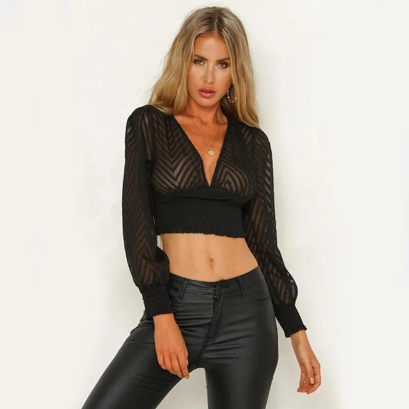 Transparent Long Sleeve Lace hollow Out Slim Crop Blouse - klozetstyle.com
